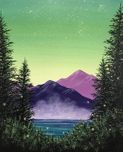 A Neon Skies and Fireflies paint nite project by Yaymaker