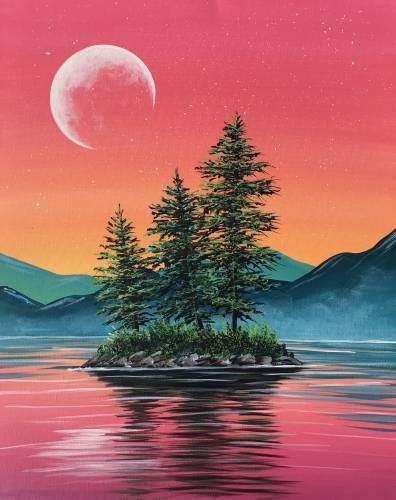 A Summer Sunset Island paint nite project by Yaymaker