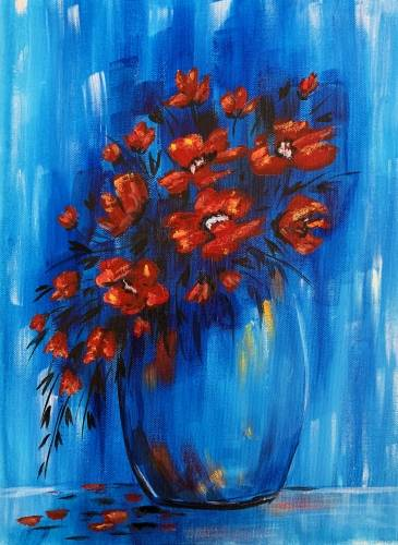 A Poppy Bouquet paint nite project by Yaymaker