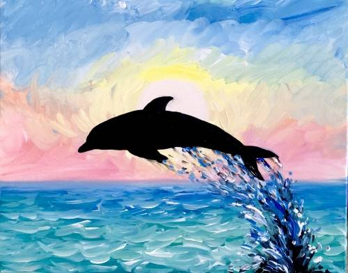 A Summer Dolphin Dreams paint nite project by Yaymaker
