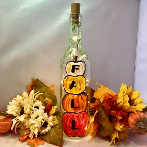 A Fall Pumpkins  Wine Bottle  Fairy Lights paint nite project by Yaymaker