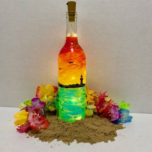A Lighthouse Sunset Wine Bottle  Fairy Lights paint nite project by Yaymaker
