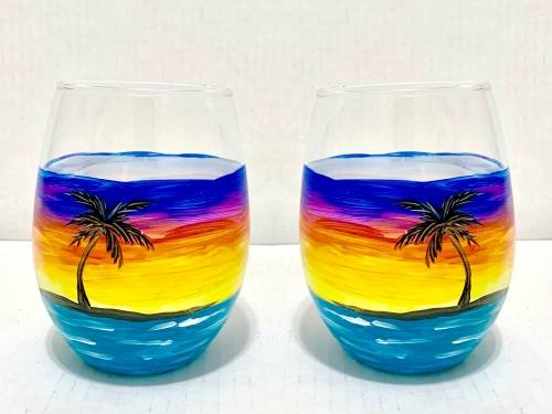 A Tropical Sunset Wine Glasses paint nite project by Yaymaker