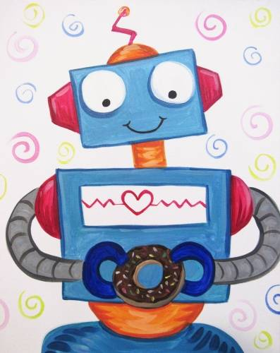 A Robot Eating a Donut paint nite project by Yaymaker