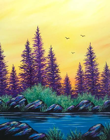 A Golden Sunset paint nite project by Yaymaker