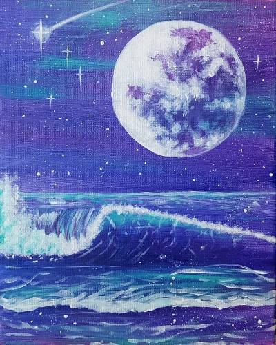A Bright Moonlit Waves paint nite project by Yaymaker