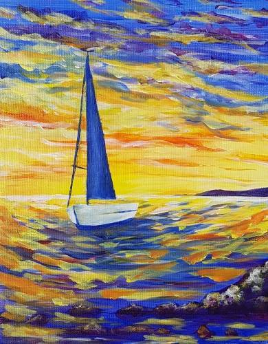 A Bright Sailboat Sunrise paint nite project by Yaymaker