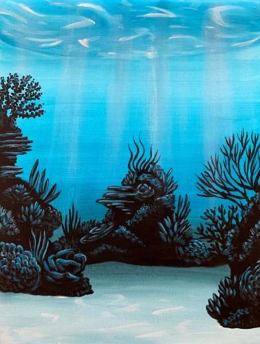 A Blue Coral Reef paint nite project by Yaymaker