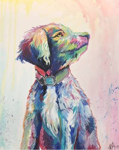 A Colorful Paint Your Pet paint nite project by Yaymaker