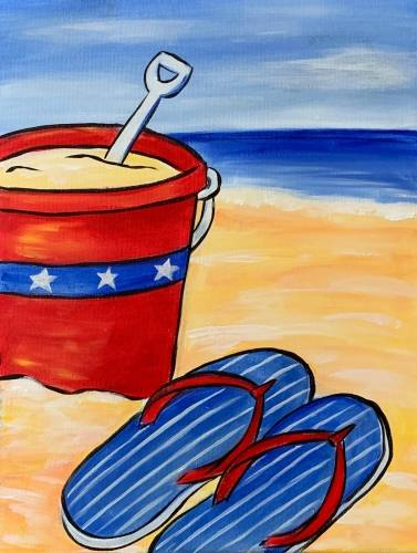 A Beach Bucket and Sandals paint nite project by Yaymaker
