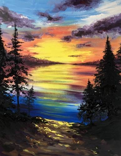 A Lovely Lakeside Sunset paint nite project by Yaymaker