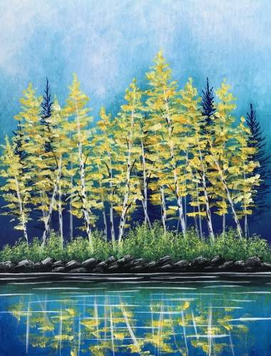 A Golden Forest Reflection paint nite project by Yaymaker