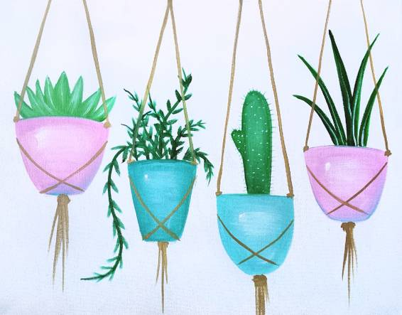 A Hanging Succulents paint nite project by Yaymaker