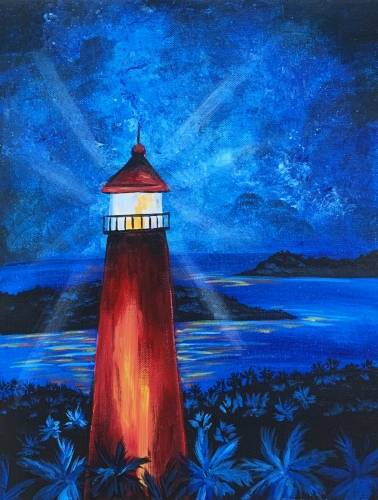 A Midnight Lighthouse paint nite project by Yaymaker