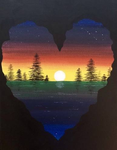 A Love the Setting Sun paint nite project by Yaymaker