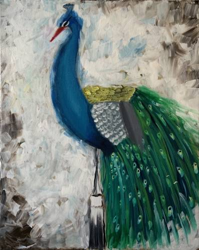 A Peacock Perched paint nite project by Yaymaker