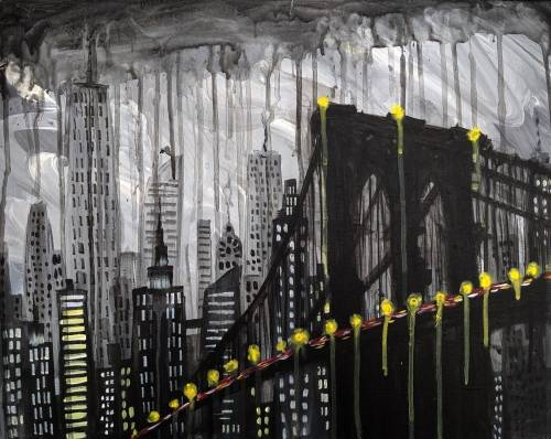 A Gotham City Rainy Day paint nite project by Yaymaker