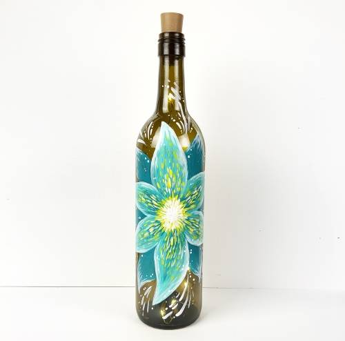 A Teal Flower Wine Bottle with Fairy Lights paint nite project by Yaymaker