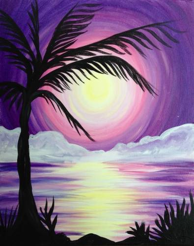 A Tropical Purple Sunset paint nite project by Yaymaker