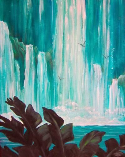 A Island Waterfalls paint nite project by Yaymaker