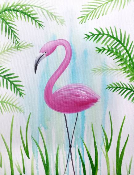 A Flora Flamingo paint nite project by Yaymaker