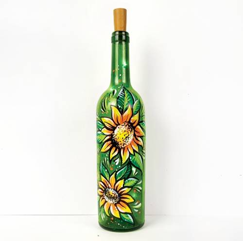 A Perfect Sunflowers Wine Bottle with Fairy Lights paint nite project by Yaymaker