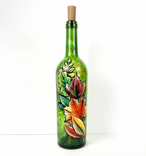 A Fall Leaves Wine Bottle with Fairy Lights paint nite project by Yaymaker