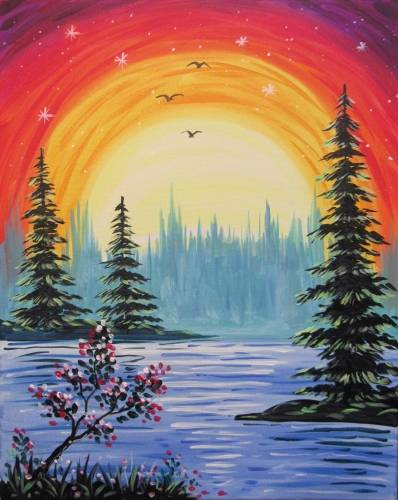 A Lakeside Afterglow paint nite project by Yaymaker