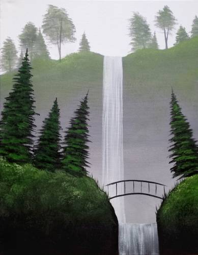 A Bridge Over Misty Falls paint nite project by Yaymaker