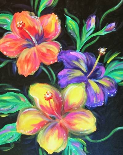 A Luminous Hibiscus paint nite project by Yaymaker