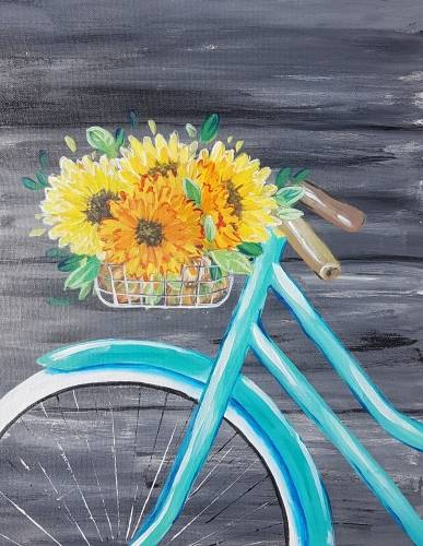 A Fall Bicycle Blossoms paint nite project by Yaymaker