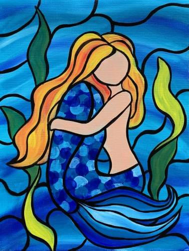 A Mosaic Mermaid paint nite project by Yaymaker