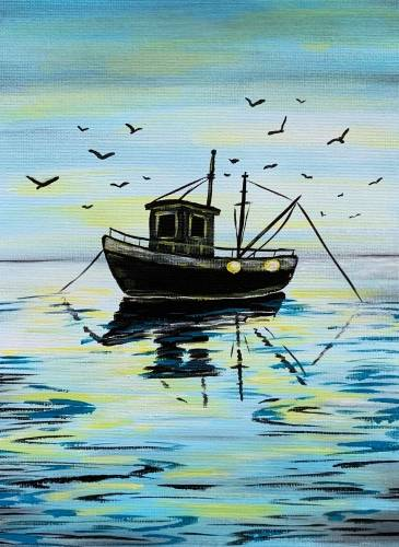 A Fishing Boat Silhouette paint nite project by Yaymaker