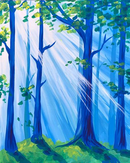A Misty Morning Forest paint nite project by Yaymaker