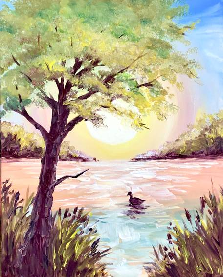 A Delightful Duck Pond paint nite project by Yaymaker