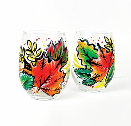 A Fall Leaves Stemless Wine Glasses paint nite project by Yaymaker