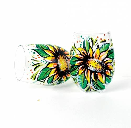 A Perfect Sunflowers Stemless Wine Glasses paint nite project by Yaymaker
