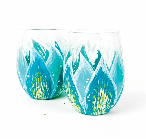 A Teal Flower Stemless Wine Glasses paint nite project by Yaymaker
