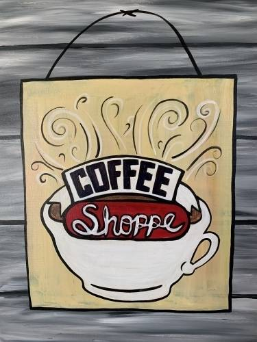 A Coffee Sign paint nite project by Yaymaker