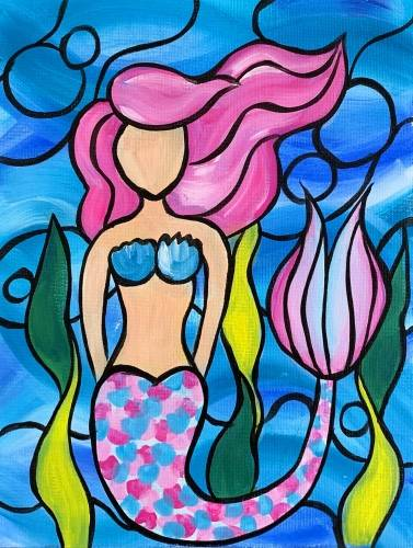 A Pink Mermaid Mosaic paint nite project by Yaymaker