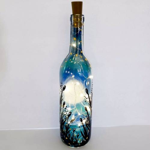A Beach Moonlight  Wine Bottle  Fairy Lights paint nite project by Yaymaker