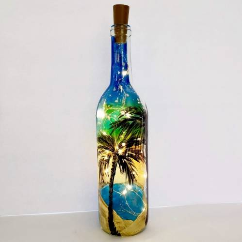 A Palm Tree Sunset  Wine Bottle  Fairy Lights paint nite project by Yaymaker
