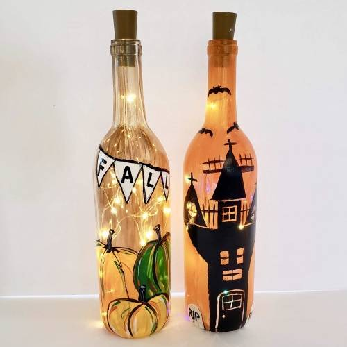 A Choose Your Fall Design  Wine Bottle  Fairy Lights paint nite project by Yaymaker