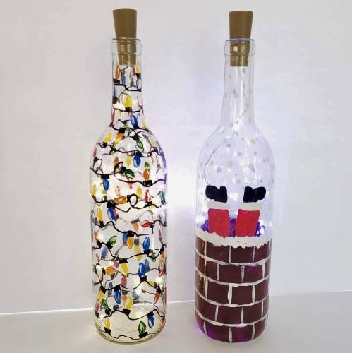 A Choose Your Christmas Design  Wine Bottle  Fairy Lights paint nite project by Yaymaker