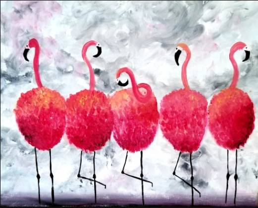 A Four the Flamingos paint nite project by Yaymaker