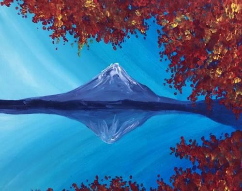 A Fall Mount Fuji Reflection paint nite project by Yaymaker