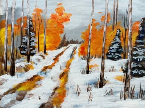 A Autumn Rustic Road paint nite project by Yaymaker
