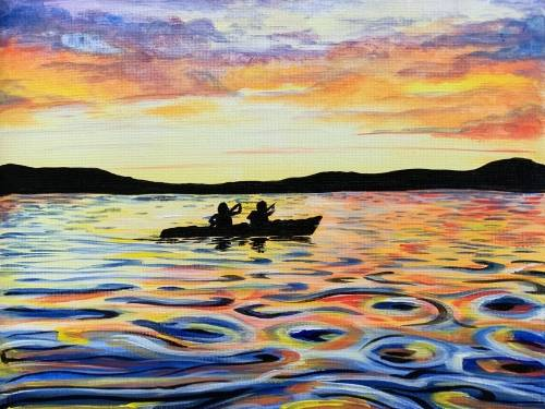 A Sunset Kayak Silhouette paint nite project by Yaymaker