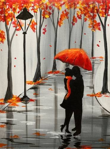 A Rainy Autumn Lovers paint nite project by Yaymaker