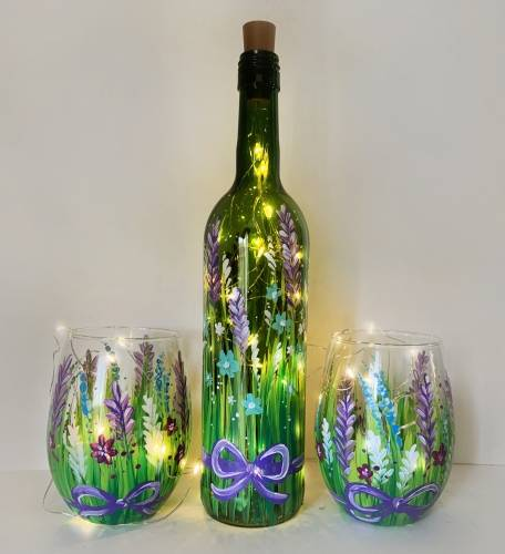 A CHOOSE Wild Flowers Wine Bottle with fairy lights OR Wine Glasses paint nite project by Yaymaker